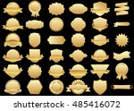 label gold vector icon set on... | Shutterstock .eps vector #485416072