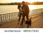 full length of a happy couple... | Shutterstock . vector #485417632