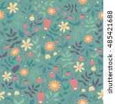 vector floral pattern in doodle ... | Shutterstock .eps vector #485421688
