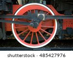 Red Wheel Detail Of Old Steam...