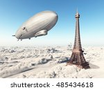 zeppelin and eiffel tower over... | Shutterstock . vector #485434618
