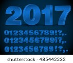 four set of blue colored 3d... | Shutterstock .eps vector #485442232