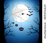 happy halloween poster scary on ... | Shutterstock .eps vector #485451625