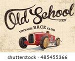 vintage race car for printing... | Shutterstock .eps vector #485455366