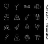vector party icon set on black... | Shutterstock .eps vector #485456842