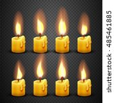 vector candle with fire... | Shutterstock .eps vector #485461885