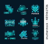 vintage neon poker tournament... | Shutterstock .eps vector #485461936