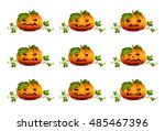 set of pumpkins for halloween... | Shutterstock . vector #485467396
