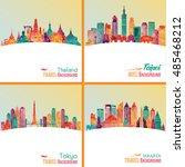 skyline detailed silhouette set ... | Shutterstock .eps vector #485468212
