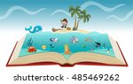 open book with cartoon pirate... | Shutterstock .eps vector #485469262