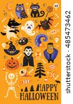 happy halloween. vector set of... | Shutterstock .eps vector #485473462