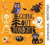 halloween poster or greeting... | Shutterstock .eps vector #485473465