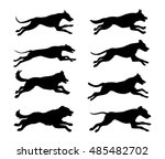 Stock vector running dogs silhouette vector illustration 485482702