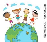 globe kids on globe.... | Shutterstock .eps vector #485485288