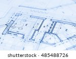 architecture blueprint    house ... | Shutterstock . vector #485488726