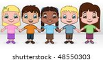 kids holding hands   vector... | Shutterstock .eps vector #48550303