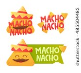 set logo  label for chips nachos | Shutterstock .eps vector #485504482