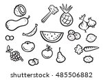 black and white fruits and... | Shutterstock .eps vector #485506882
