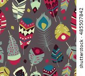 seamless pattern with boho... | Shutterstock .eps vector #485507842