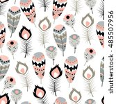 seamless pattern with boho... | Shutterstock .eps vector #485507956
