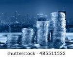 double exposure of coin stacks...   Shutterstock . vector #485511532