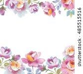 wildflower rose flower frame in ... | Shutterstock . vector #485515516