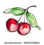 hand drawn watercolor grunge... | Shutterstock .eps vector #485534806
