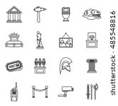 museum icons set in outline... | Shutterstock . vector #485548816