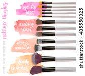 set brushes for makeup. beauty... | Shutterstock .eps vector #485550325