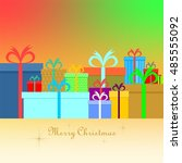 christmas card with colorful... | Shutterstock .eps vector #485555092