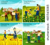 farming 2x2 design concept with ... | Shutterstock . vector #485565085