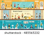 relaxation break a sweat... | Shutterstock .eps vector #485565232