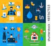 plumber serviceman tools kit... | Shutterstock . vector #485567515