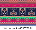 festive striped ornamental... | Shutterstock .eps vector #485576236
