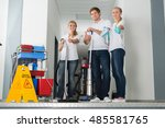 group of happy young janitor... | Shutterstock . vector #485581765