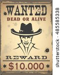 wanted vintage western poster | Shutterstock .eps vector #485585338