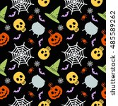 vector halloween seamless... | Shutterstock .eps vector #485589262