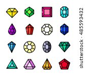 thin line gems icons set ... | Shutterstock .eps vector #485593432