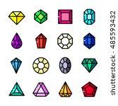 thin line gems icons set ... | Shutterstock .eps vector #485593432