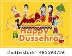 lord rama  laxmana  sita with... | Shutterstock .eps vector #485593726