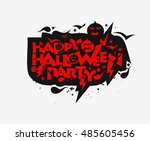 happy halloween party greeting... | Shutterstock .eps vector #485605456