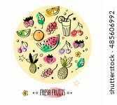 set of hand drawn fruits and... | Shutterstock . vector #485606992