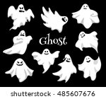 cartoon spooky ghost character... | Shutterstock .eps vector #485607676