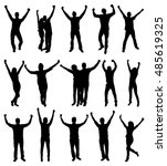set of excited people... | Shutterstock .eps vector #485619325