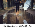 autumn landscape city woman... | Shutterstock . vector #485637166