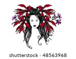 woman and flower | Shutterstock .eps vector #48563968