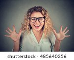 super excited funky looking... | Shutterstock . vector #485640256
