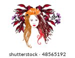 woman and flower | Shutterstock .eps vector #48565192