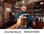bearded man in bar clink... | Shutterstock . vector #485655085