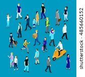 people in crowd isometric... | Shutterstock .eps vector #485660152